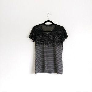 All Saints Tops - All Saints Striped Burn Out Tee Shirt Black Size S